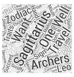 Traits of sagittarius word cloud concept vector