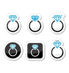Wedding diamond engagement ring icon vector