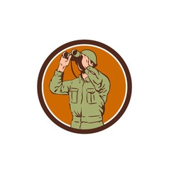 World war one american soldier binoculars retro vector