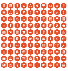 100 lamp icons hexagon orange vector