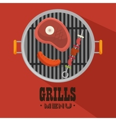 Grills menu beef beer design isolated vector