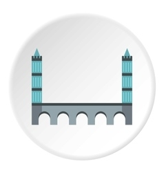 Bridge with towers icon flat style vector