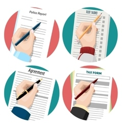 Left-hander writing signing document vector