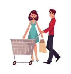 Man pushing a cart and woman holding shopping bags vector