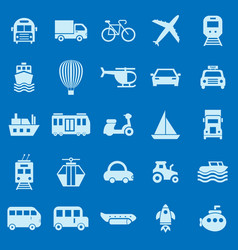 Transportation color icons on blue background vector