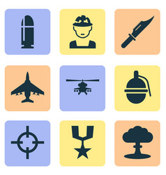 Combat icons set collection of target bombshell vector
