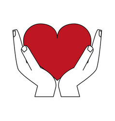 Color silhouette image hands holding a red heart vector