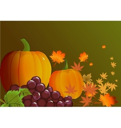 Pumpkins with leaves autumn background vector