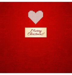 Christmas and Winter knitted card with heart vector image