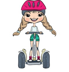 Cute hipster baby girl on segway vector