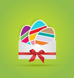 Colored eggs in envelope with bow ribbon gift vector