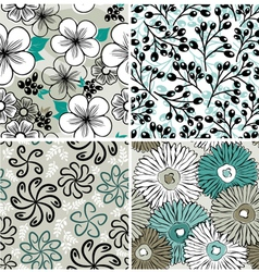 Set of flowers backgrounds vector