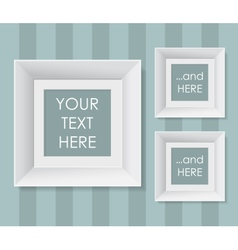 Set of white frames over striped background vector