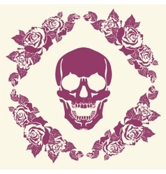 Skull in the frame of roses vector