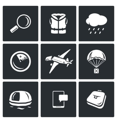 Search operation plane crash icons set vector