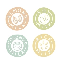 Almond soy coconut rice milk badges vector