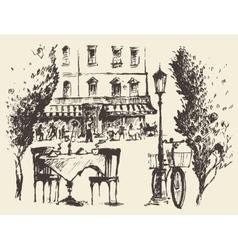 Streets Paris cafe Vintage drawn sketch vector image