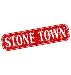Stone town red square grunge retro style sign vector