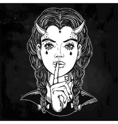 Hand drawn artwork of female demon portriat vector image