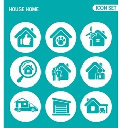 Set of round icons white house home selling home vector