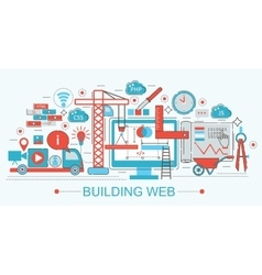 Modern flat thin line design website building vector