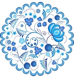 Blue flowers floral russian ornament gzhel frame vector image vector image