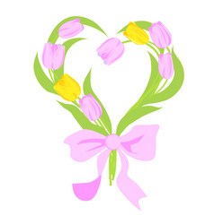 bouquet of spring flowers in the shape of heart vector image