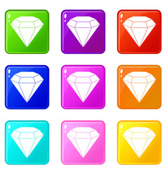 Brilliant gemstone icons 9 set vector