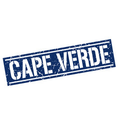 Cape verde blue square stamp vector