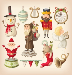 christmas retro toys vector image