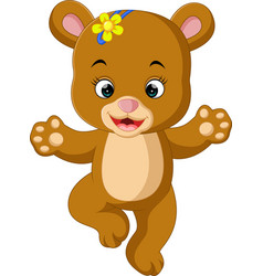 Cute baby bear dancing cartoon vector