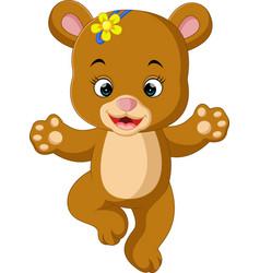 cute baby bear dancing cartoon vector image vector image