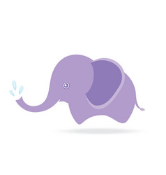 cute elephant spraying water cartoon drawing vector image