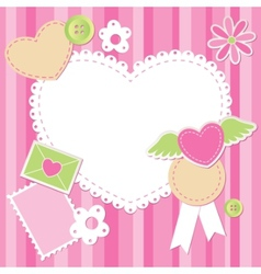 cute pink scrap set vector image vector image