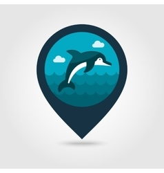 Dolphin pin map icon summer vacation vector