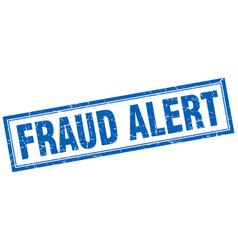 Fraud alert blue grunge square stamp on white vector