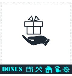 Gift present icon flat vector