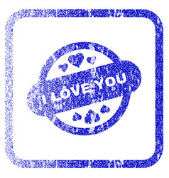 I love you stamp seal framed textured icon vector