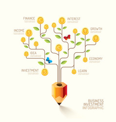 Infographic business pencil tree and coins flat li vector