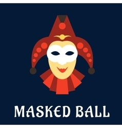 Jester mask with collar and hat vector image