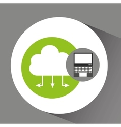 Laptop technology cloud computing icon vector