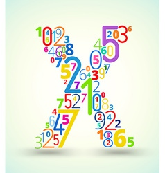 Letter X colored font from numbers vector image vector image