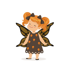 little girl dressed as a butterfly cute kid in vector image vector image