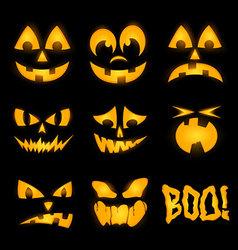 Orange halloween lighting pumpkin faces emotions vector image vector image