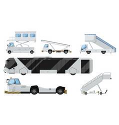 passenger airport ground technics isolated set vector image vector image