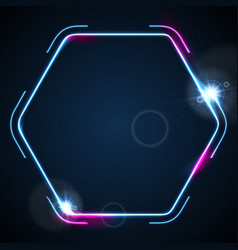 Retro neon 80s shiny hexagon abstract background vector