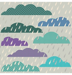 Seamless pattern with clouds and rain vector image vector image