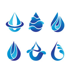 set of abstract blue water drops symbols logo vector image vector image