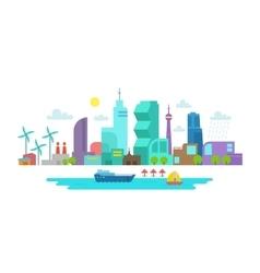 Skyscraper landscape city and lake optimistic vector