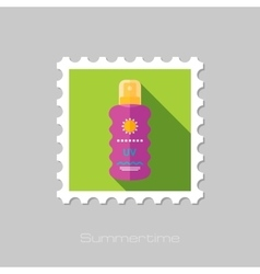 Sun Cream in Spray flat stamp with long shadow vector image vector image